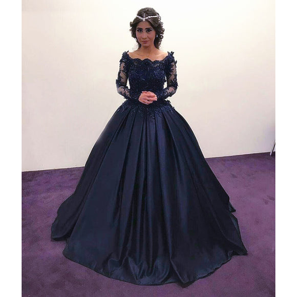 Princess Embellished Long Sleeves Navy Blue Prom Dresses Ball Gown Wedding Engagement Dresses ,Lace Appliqued Formal Gown