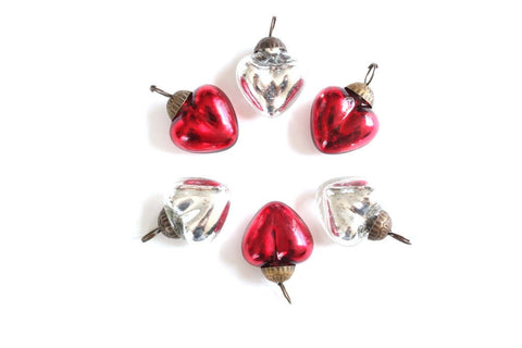 2 Silver or Red Heart Mercury Glass Ornaments