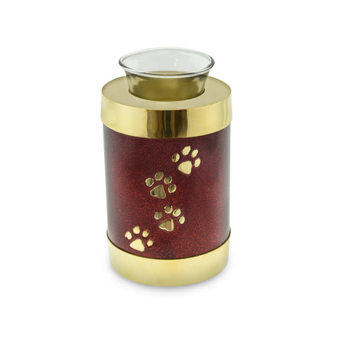 Paw Print Red/Brass Paw Print Tea Light Pet Cremation Urn - Cherished Urns