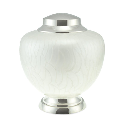 Dawlish Brass Adult Cremation Urn for Ashes in White - Cherished Urns