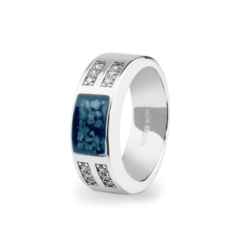 Unisex Oblong Memorial Ashes Ring with Swarovski Crystals - Cherished Urns