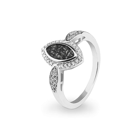 Ladies Marquise Memorial Ashes Ring with Swarovski Crystals - Cherished Urns