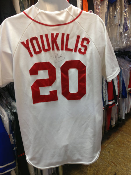 Vtg #20 KEVIN YOUKILIS Boston Red Sox MLB Majestic Jersey L (Signed)