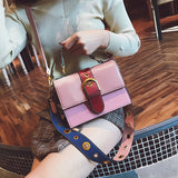 HitColor Square Shape Crossbody Bag with Wide Strap - Siscloset