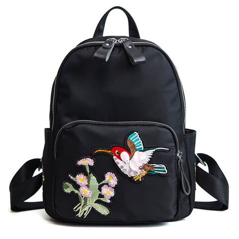 Flower and Bird Embroidery Zipper Round Backpack - Siscloset