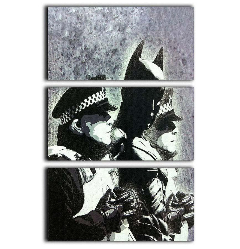 Banksy Batman and the Police 3 Split Panel Canvas Print - Canvas Art Rocks - 1