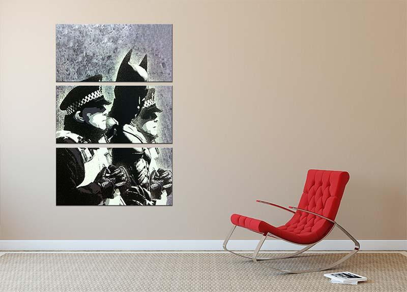 Banksy Batman and the Police 3 Split Panel Canvas Print - Canvas Art Rocks - 2
