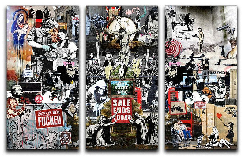 Banksy Collage 3 Split Panel Canvas Print - US Canvas Art Rocks