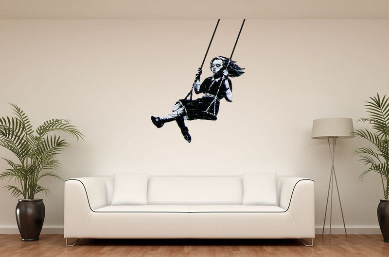 Banksy Swing Girl Wall Decal - US Canvas Art Rocks