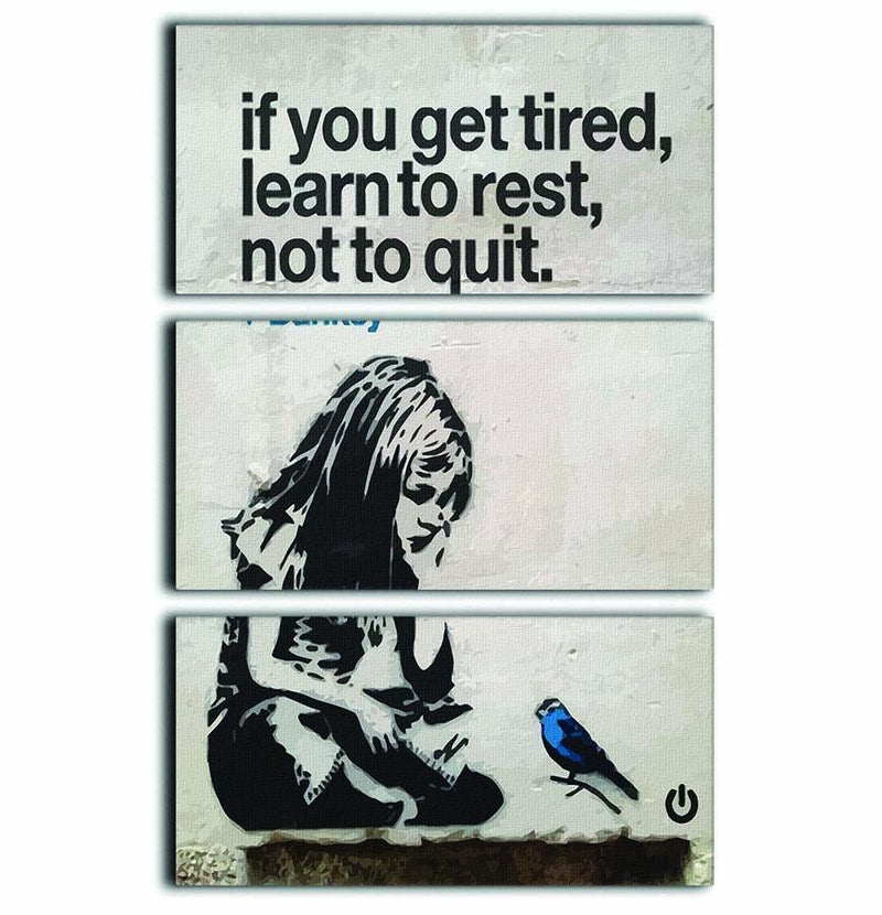 banksy if you get tired 3 Split Panel Canvas Print - Canvas Art Rocks - 1