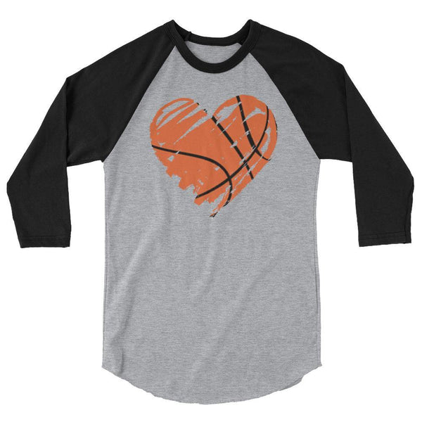 heart basketball 3/4 sleeve raglan shirt