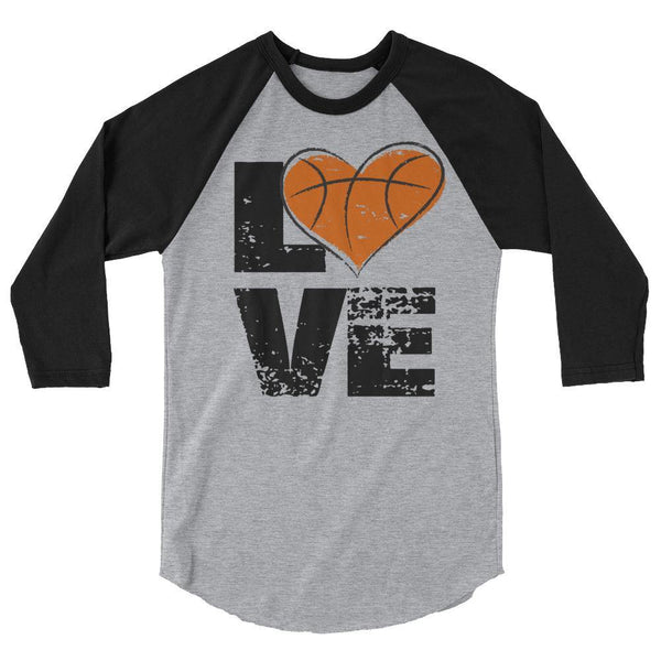 love basketball 3/4 sleeve raglan shirt