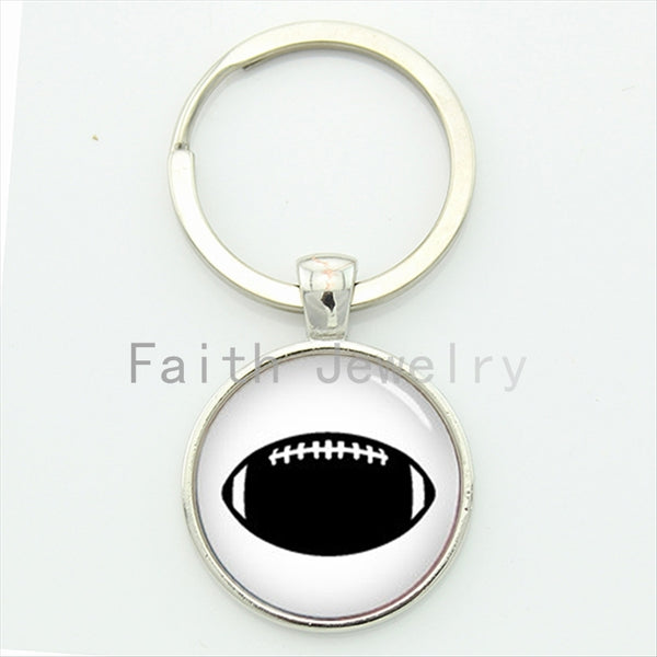 Simple vintage black white american football key chain men's leisure accessories sports keychain jewelry new idea gifts KC393
