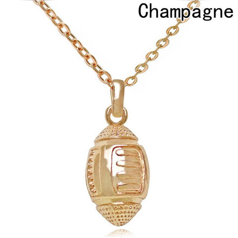 Necklace for Women Copper Made Fitness Jewelry Sports Rugby Ball Pendant American Football Choker
