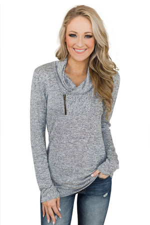 Gray All This Time Zipper Pullover Top