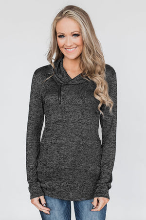 Black All This Time Zipper Pullover Top