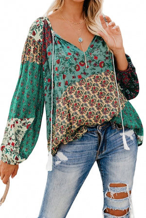 Green Floral Print Peasant Blouse