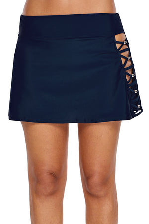Navy Beaded Crisscross Aside Swim Skirt