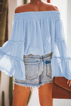 Sky Blue Swiss Dot Off The Shoulder Top