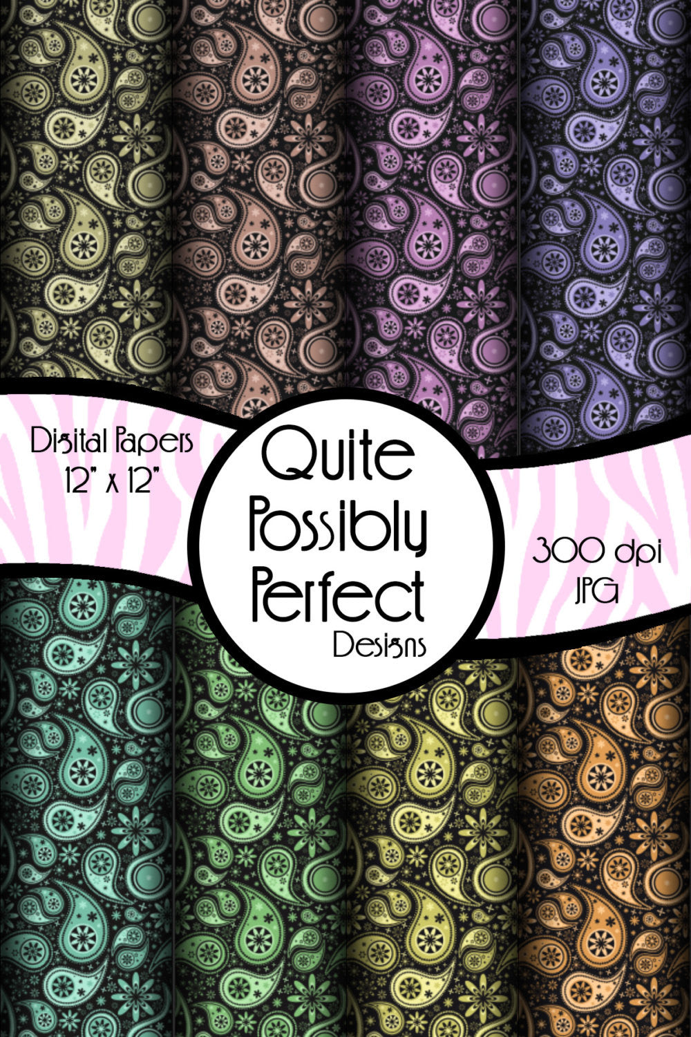 Paisley Digital Paper Pack Instant Download (DGP117) Digital Paper Pack for Scrapbooking, Collage Sheets,Greeting Cards, Bottle Caps