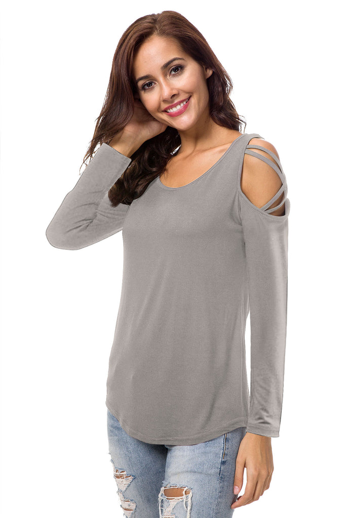 LONG SLEEVE SOLID CRISS CROSS TOP