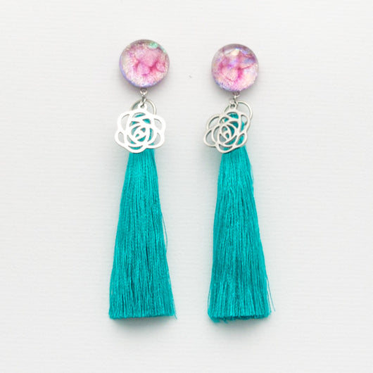 Pink Sherbet Tassel Earrings