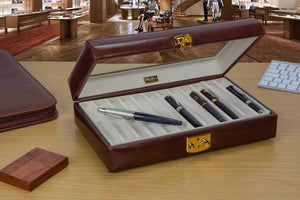 Fine Italian Leather Pen Case Holders - Enjoy your beautiful pen collection with this beveled glass top display case.