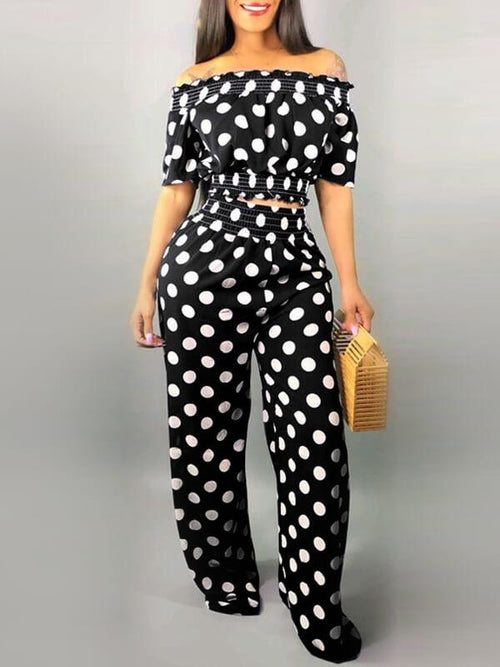 Dot Off Shoulder Crop Top & Pants Set