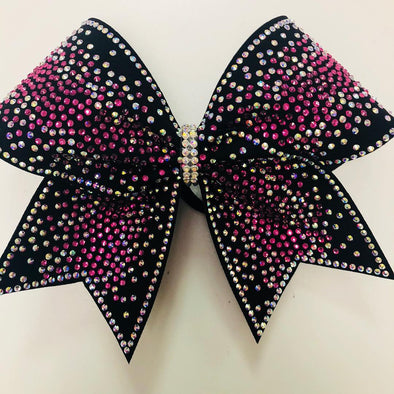 Black, Pink & Silver Scattered Rhinestone Bow