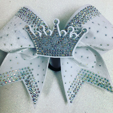 White Velvet Crown Center Rhinestone Bow