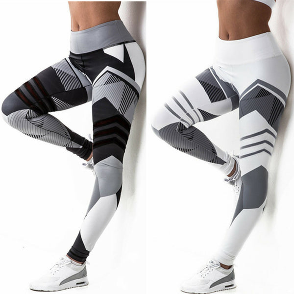 White  and Black Abstract Yoga Pants