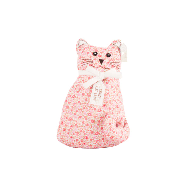 'Crazy Cat Lady' Floral Cat Doorstop