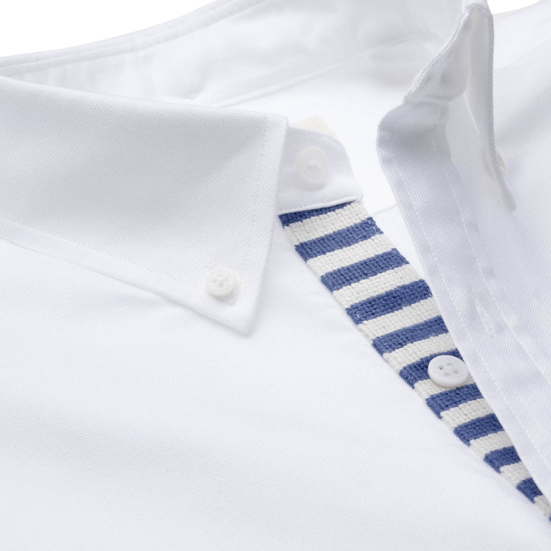 Needlepoint Placket Oxford - Blue & White
