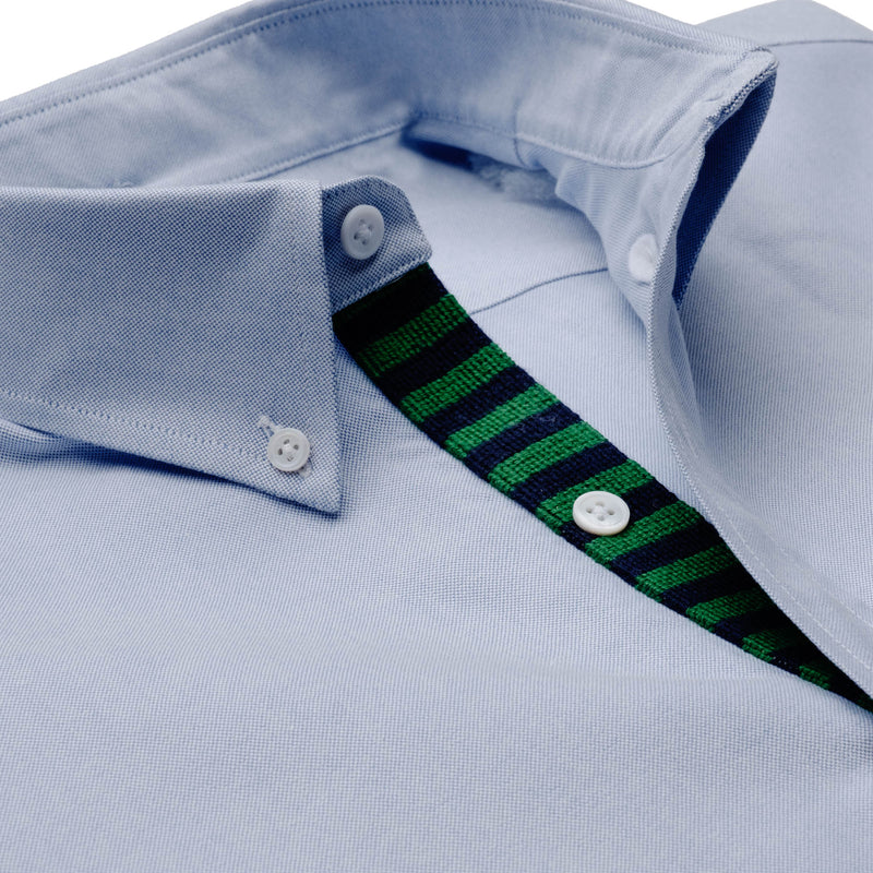 Needlepoint Placket Oxford - Kelly Green & Navy