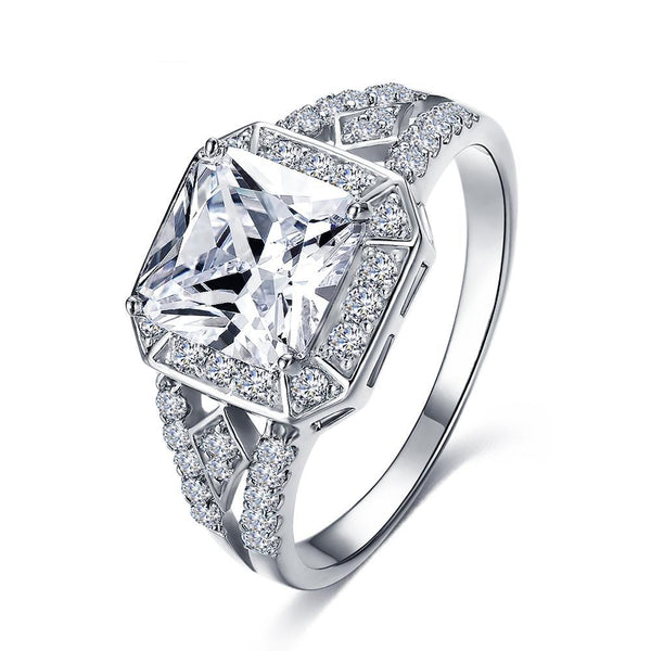 Silver Color Micro Inlay Clear Cubic Zircon Ring