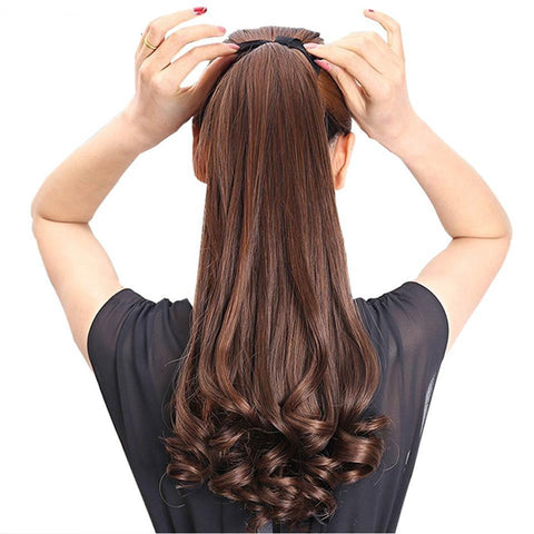Long Curly Synthetic Ponytail Light Brown Clip In Ponytail Hair