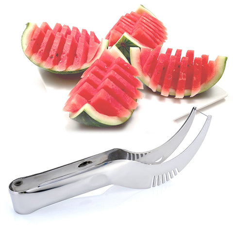 Stainless Steel Watermelon Slicer Fruit Knife Cutter And Ice Cream Ballers Melon Scoop Double Size Spoon Set