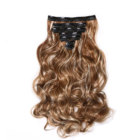 Fiber Synthetic Full Head Curly Hair Extensions