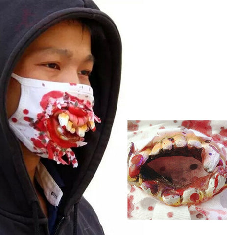 Scary Bucktooth Mask Horror Gauze Masks Halloween Costume Decoration Latex Party Masquerade Half Face Mask For Adults Kids