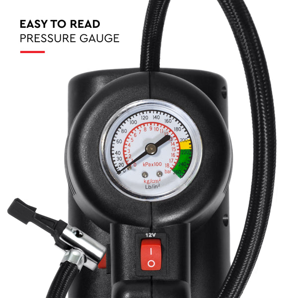 Air pump has an analogue tire gauge with two measurements