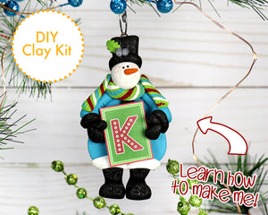 DIY Jolly n' Bright Monogram Snowman ornament 2017
