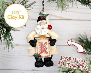 DIY White Winter Monogram Santa Ornament 2017