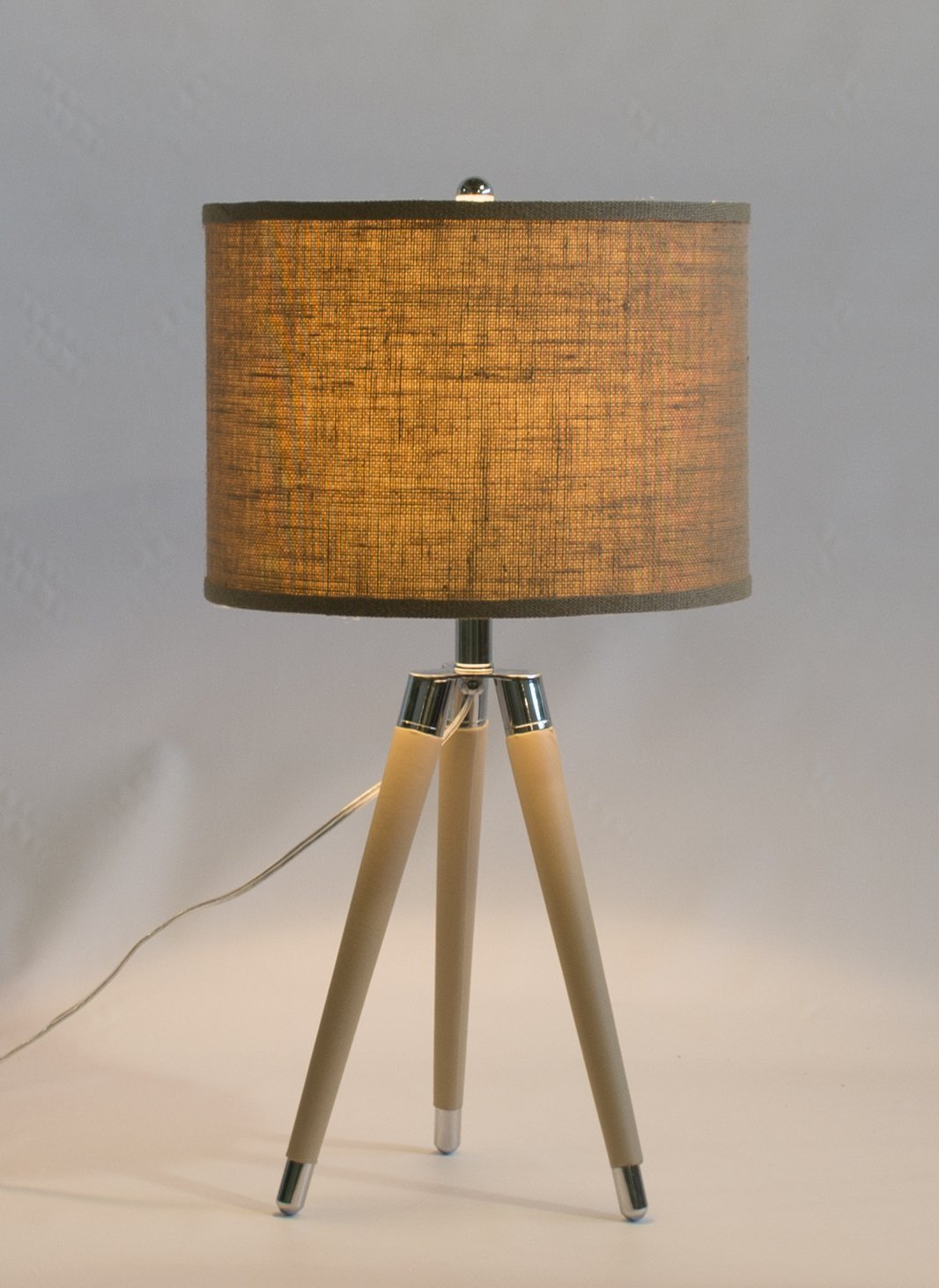 Tan Mid Century Modern Tripod Leather & Chrome Table Lamp with Drum Hardback Shade
