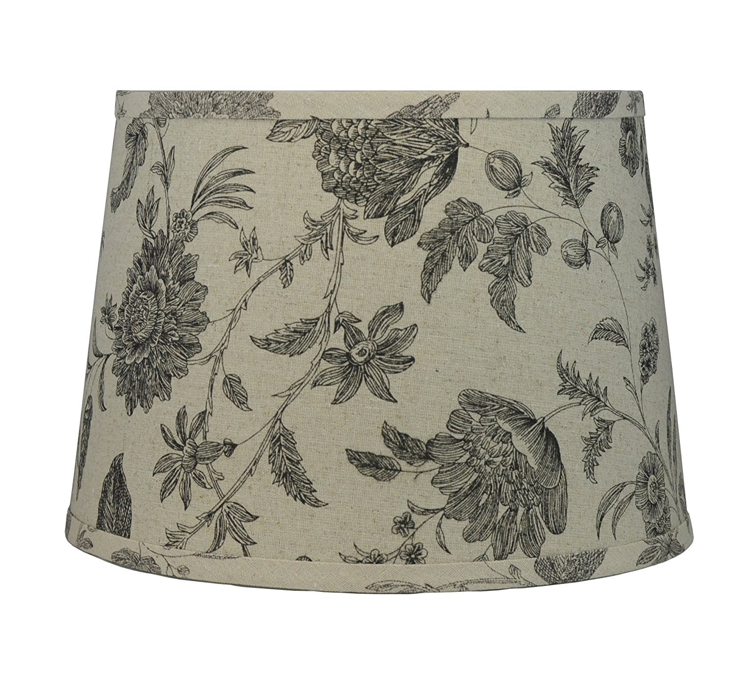 French Drum Lampshade, Natrual Linen With Flowers and Leaves, 12-inch Spider