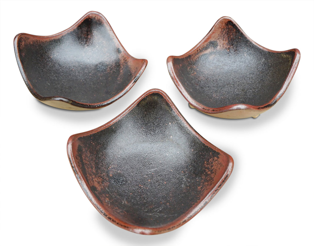 Small Black Brown Pottery Catch All