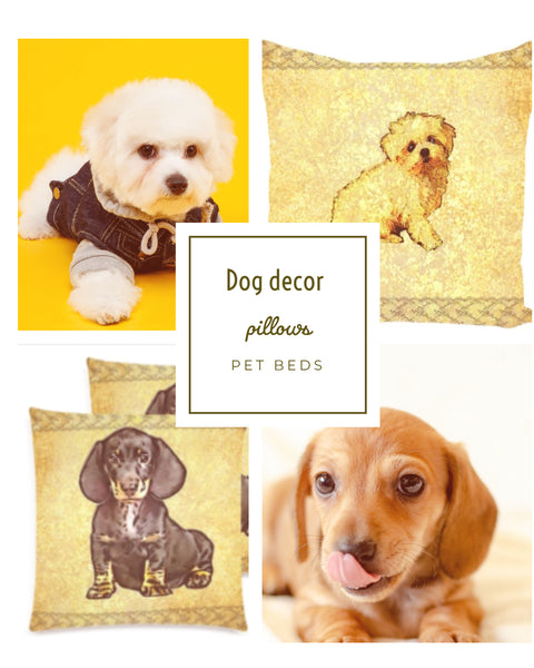 Dog decor- pillows, pillow covers, dog beds