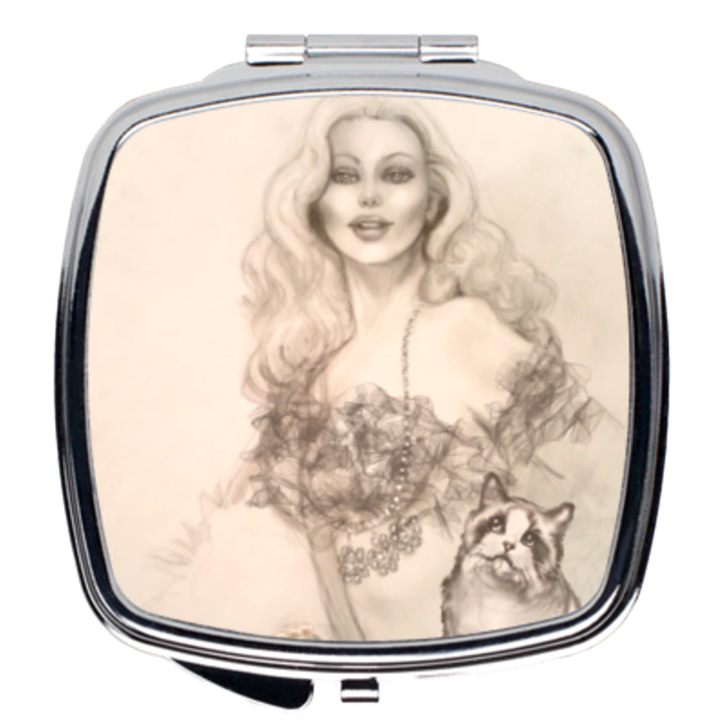 Compact Mirror - Designer Edition Compact Mirror-Burlesque Pin-up Queen And Ragdoll Cat Art