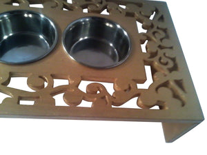 Pet Feeders - Vine-Artistic Cat Feeder-Small Dog Feeder- Scrolls Cutout Design