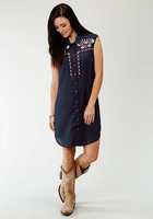 Roper Women's Short Sleeve Embroidered Rayon Dress