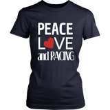 Peace Love And Racing (Heart) Women Heart - Turn Left T-Shirts Racewear